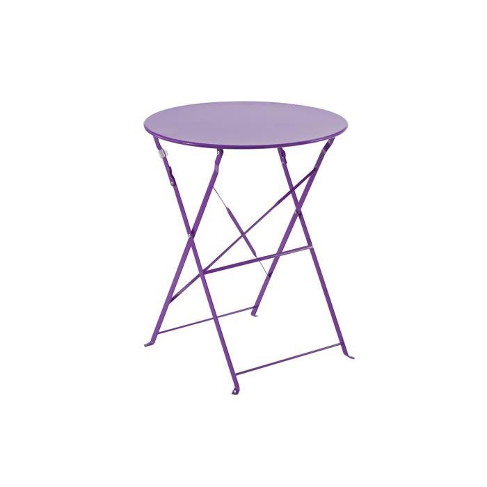 table de jardin ronde violette. Black Bedroom Furniture Sets. Home Design Ideas