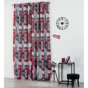 rideau imprime rouge achat vente rideau imprime rouge pas cher cdiscount. Black Bedroom Furniture Sets. Home Design Ideas