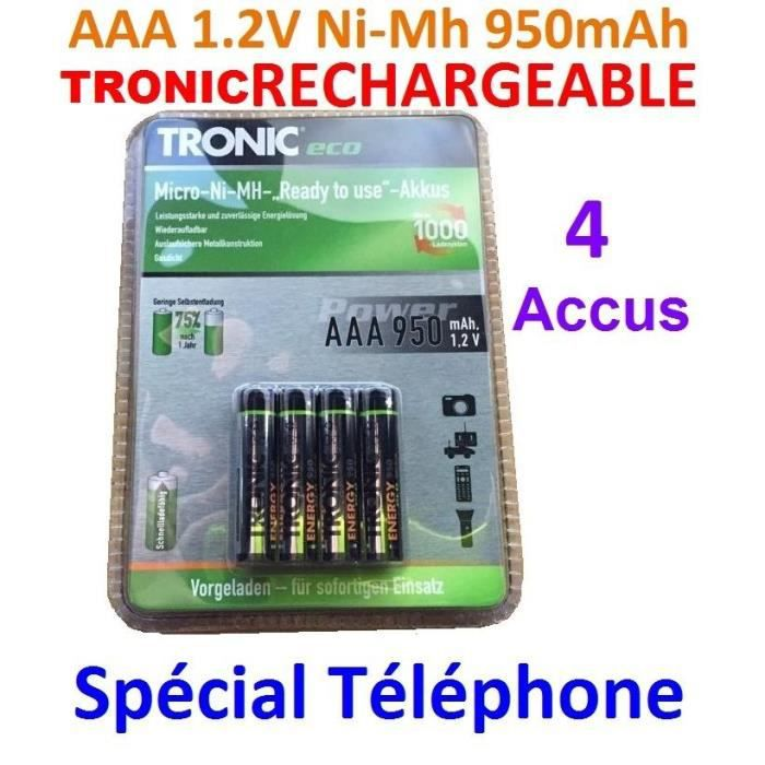 4 piles aaa rechargeables 950mah 1 2v nimh tronic r3 r03. Black Bedroom Furniture Sets. Home Design Ideas