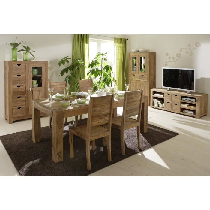 Wolf m bel table 6 chaises en bois massif de sheesham - Table sejour bois massif ...