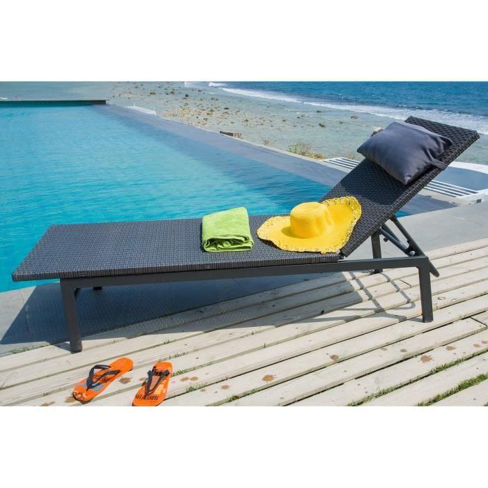 Bain de soleil en r sine tress e multiposition noir achat vente chaise - Bain de soleil blooma ...