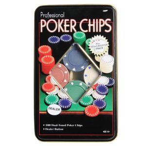 JETON DE JEU Boite de 100 jetons de poker + jeton de donneur -