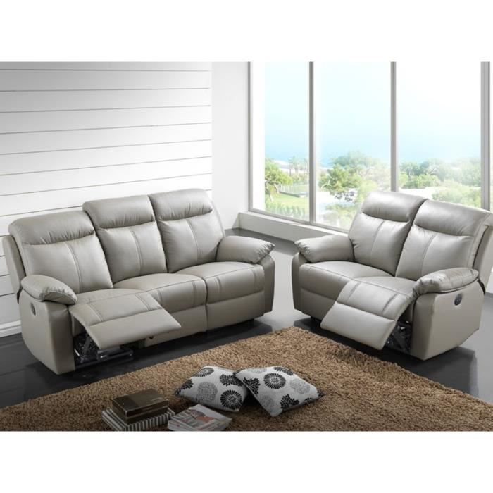 Canap 3p relax 2p relax lectrique cuir vyctoire achat vente canap - Cdiscount canape relax ...