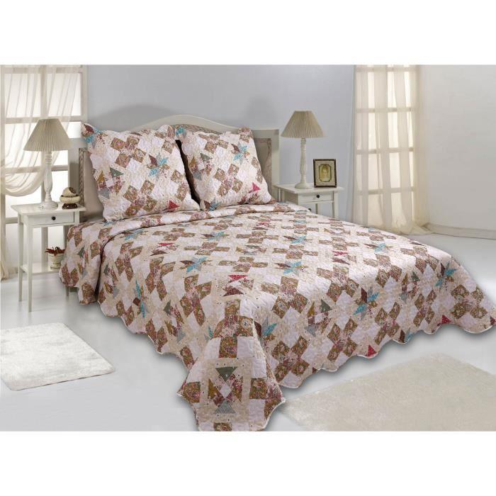 boutis imprime orchid 1 couvre lit 220 x 240 cm et 2 taies d 39 oreiller 65 x 65 cm enveloppe et. Black Bedroom Furniture Sets. Home Design Ideas
