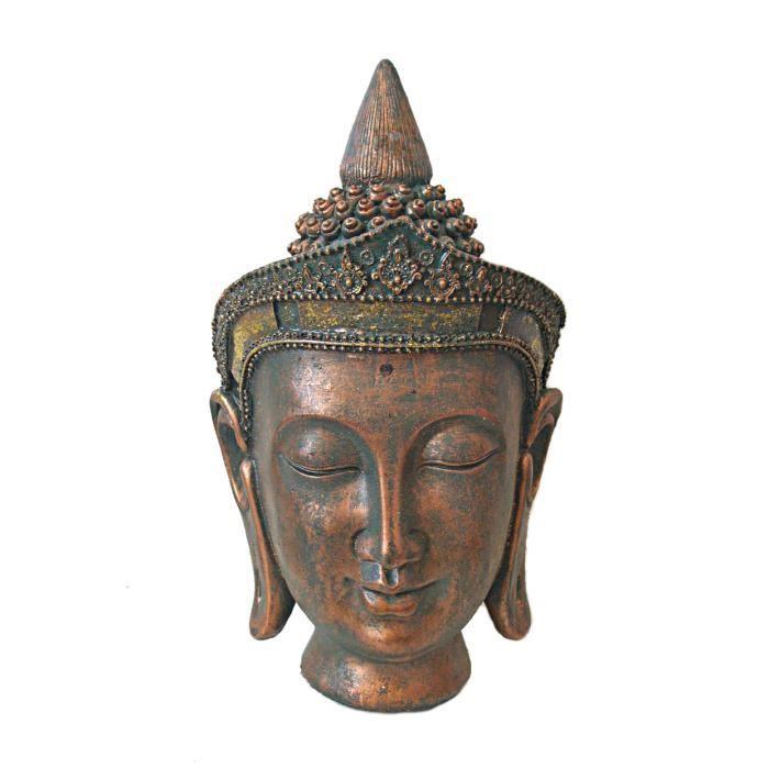 Statue tete de bouddha neuve decoration 32cm yoga zen for Tete de bouddha deco