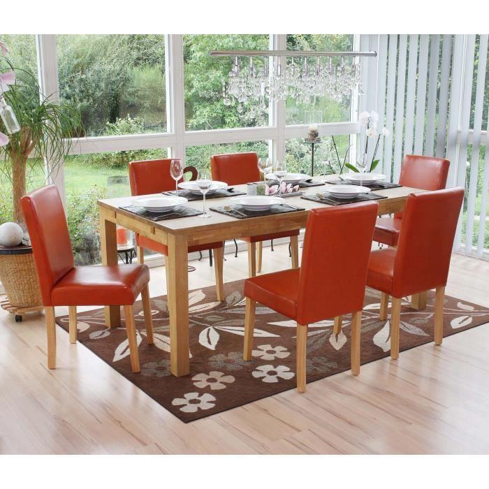 Lot de 6 chaises salle manger terracotta orange achat for Salle a manger orange