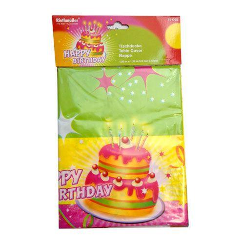 Nappe en plastique happy birthday l 39 unit achat - Nappe cuisine plastique ...