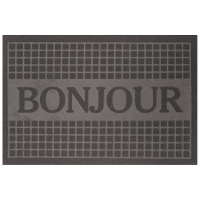 tapis d 39 entr e anti poussi re 40x60 bonjour gris achat. Black Bedroom Furniture Sets. Home Design Ideas