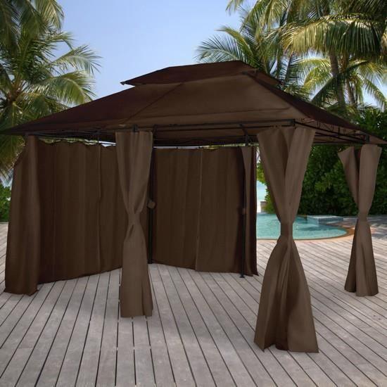 Pavillon tonnelle tente de jardin 395 x 295 x 280 cm parois amovibles achat vente tonnelle Tente de jardin metro
