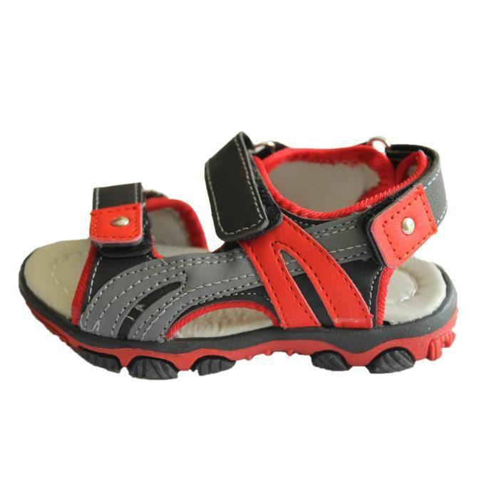 sandale gar on noire et rouge noire et rouge rouge noire et rouge achat vente sandale nu. Black Bedroom Furniture Sets. Home Design Ideas