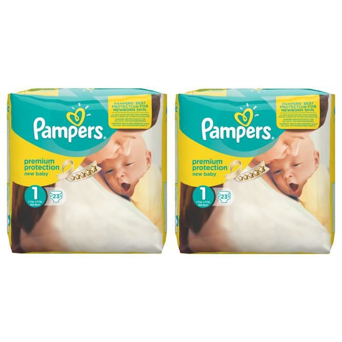 pampers new baby taille 1 new born 2 5kg 46 couches. Black Bedroom Furniture Sets. Home Design Ideas