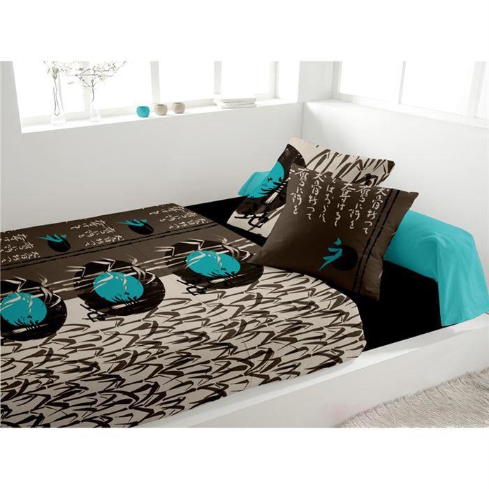 parure de lit nippon turquoise achat vente parure de lit cdiscount. Black Bedroom Furniture Sets. Home Design Ideas