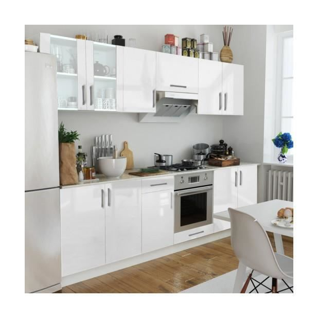 superbe set de 8 meubles de cuisine blanc brillant 260 cm achat vente cuisine compl te. Black Bedroom Furniture Sets. Home Design Ideas