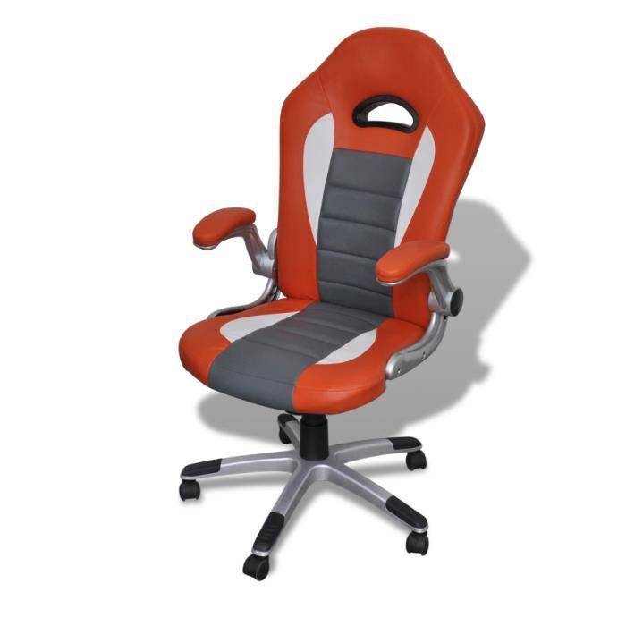 Fauteuil en cuir moderne de bureau design orange achat vente fauteuil c - Fauteuil cuir moderne ...