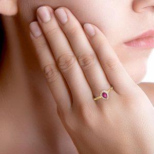 Bague poire en Or jaune 375/00, diamants et rubis
