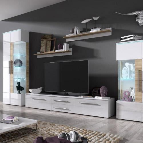 Meuble tv blanc laqu design banco l 140 cm achat for Meuble de tele blanc