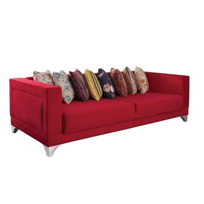 Canap 3 places convertible en tissu coloris rouge achat for Canape convertible 4 places