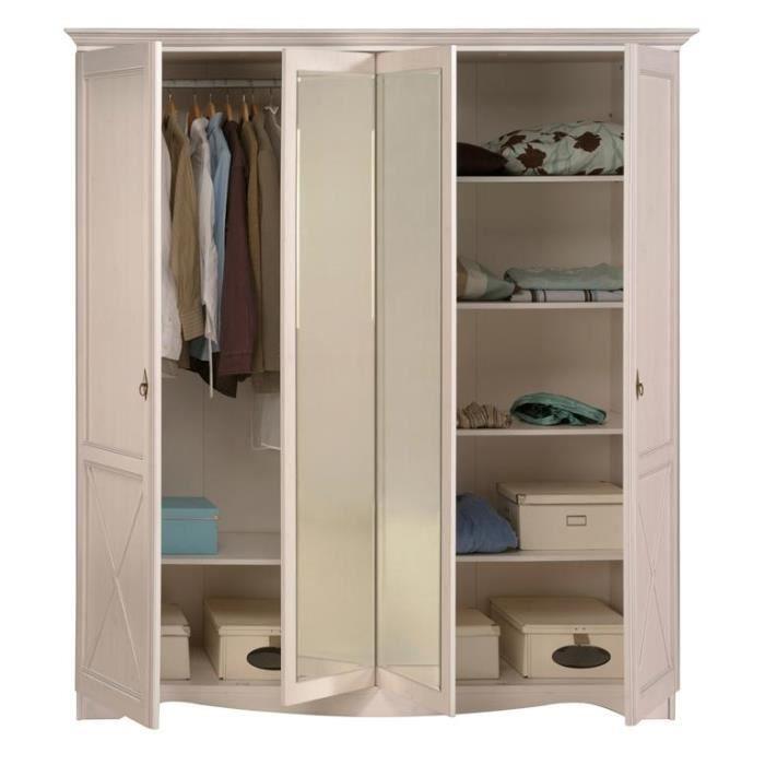 Miliboo armoire design blanche avec miroir b achat - Armoire de chambre design ...