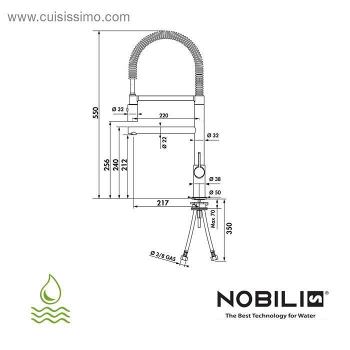 Mitigeur douchette nobili co nergie chrom cr achat for Nobili robinetterie cuisine