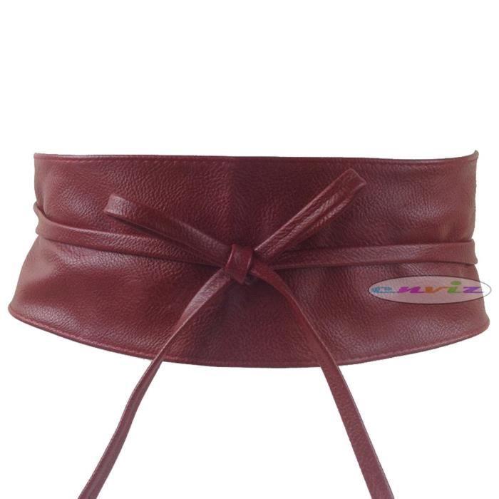 ceinture bandeau large nouer pu pour femme bordeaux rouge achat vente ceinture et boucle. Black Bedroom Furniture Sets. Home Design Ideas