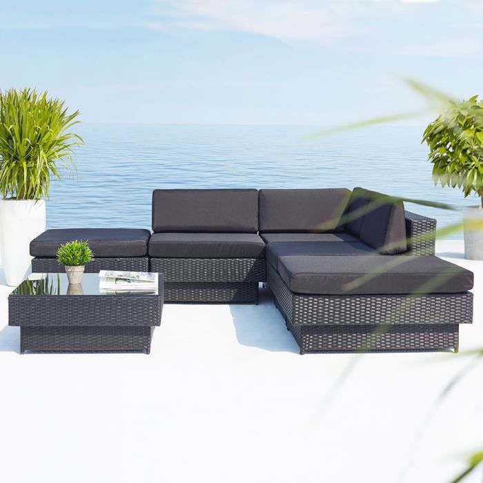 Magnifique Salon De Jardin Amorgos En Resine Tressee D 39 Angle Luxe Poly Rotin Achat Vente