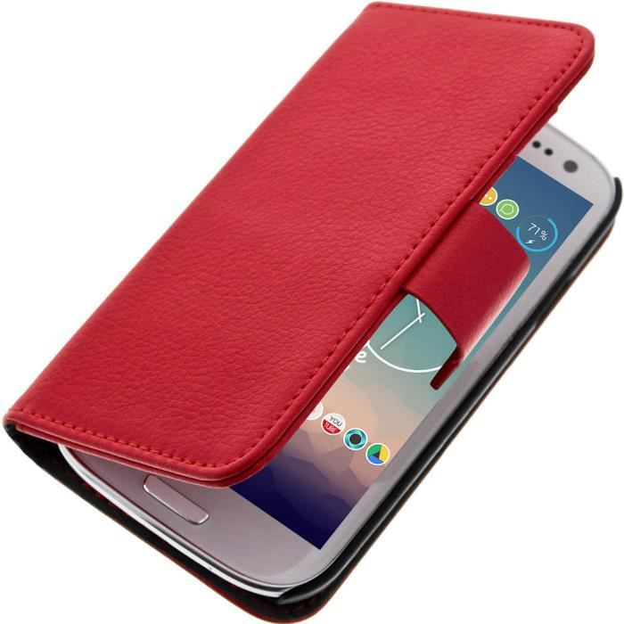 Etui portefeuille samsung galaxy s3 rouge achat housse for Housse samsung galaxy s3