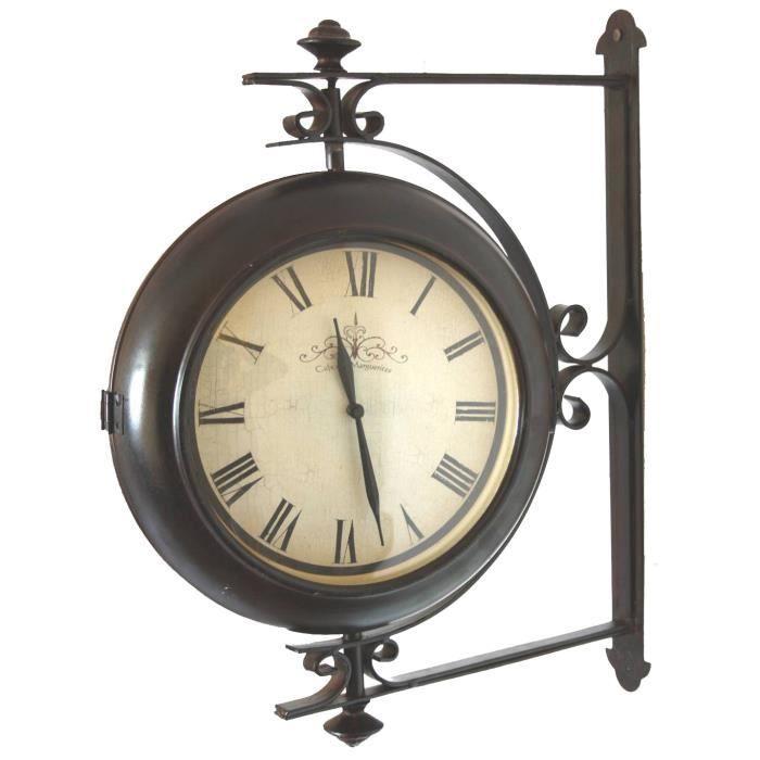 Grande horloge de gare pendule murale double face rotative sur cr dence 10x42 - Pendule de gare double face ...