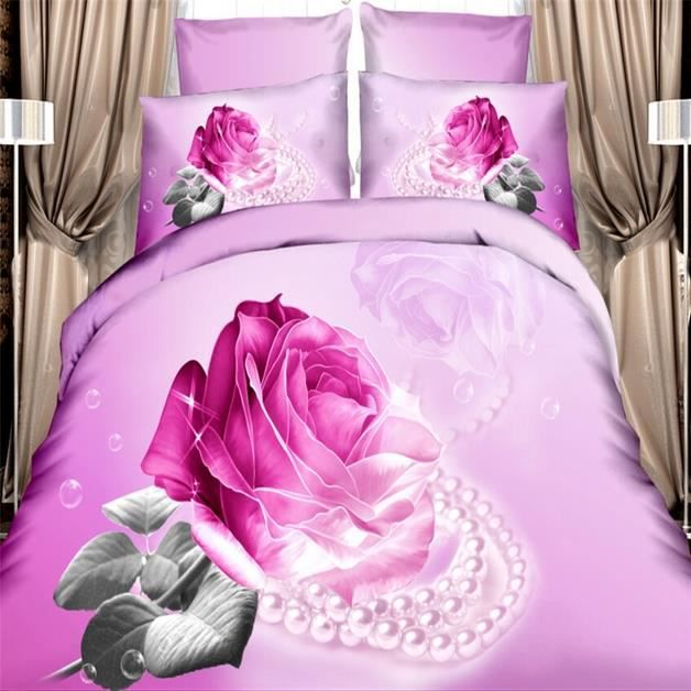 parure de lit 3d effect rose carmin et bijoux 100 coton 200 230cm 4 pi ces achat vente. Black Bedroom Furniture Sets. Home Design Ideas