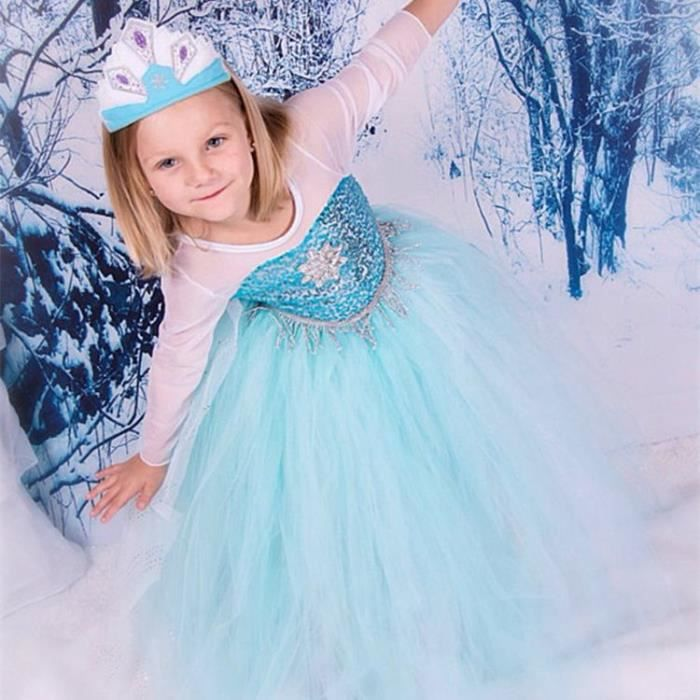 robe elsa la reine des neiges d guisement costume princesse frozen robe demoiselle d 39 honneur. Black Bedroom Furniture Sets. Home Design Ideas