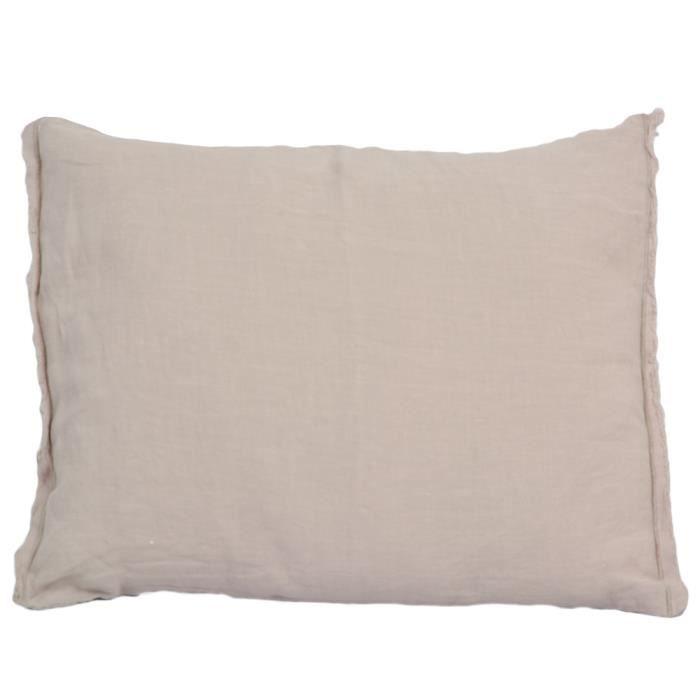 Housse de coussin lin lav beige 35x50cm achat vente - Housse de coussin lin lave ...