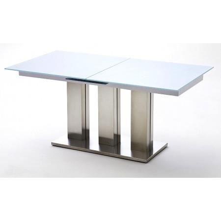 Pin table rallonges en verre et en bois bon ton for Table rectangulaire en verre avec rallonge