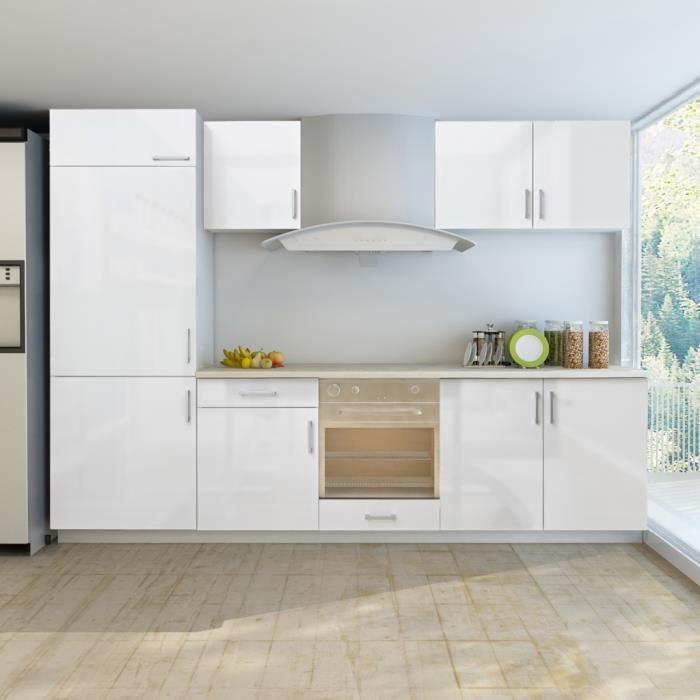 armoire de cuisine blanc brillant 7 pcs pour frigo int gr. Black Bedroom Furniture Sets. Home Design Ideas