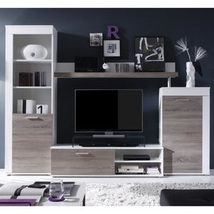Meuble tv beige achat vente pas cher cdiscount for Finlandek meuble tv mural katso 160cm blanc et noir