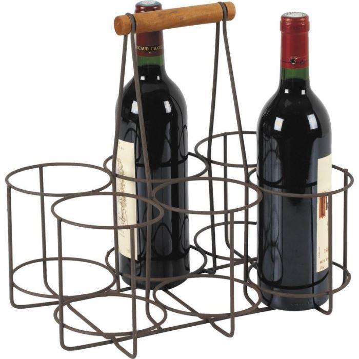 panier 6 bouteilles en m tal vieilli et bois 33 achat vente porte bouteille panier 6. Black Bedroom Furniture Sets. Home Design Ideas
