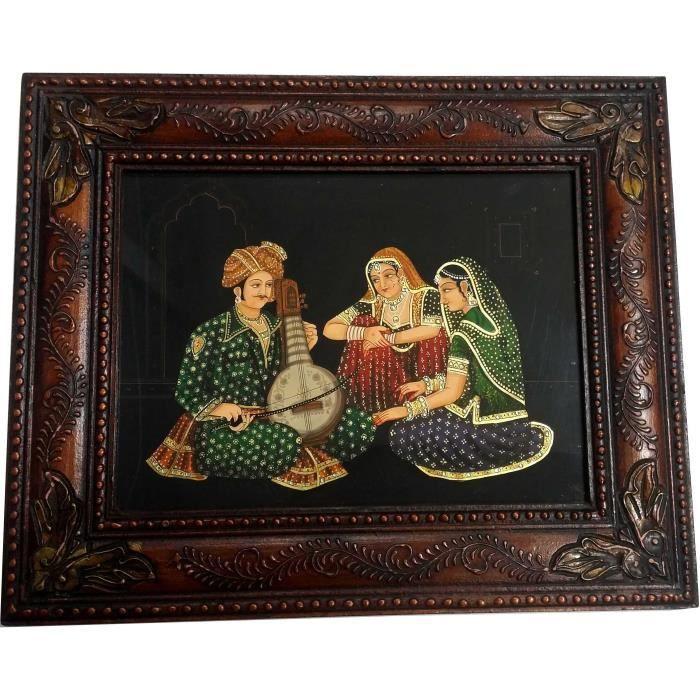 Tableau peinture indienne toile de rajasthan d coration for Decoration murale cadre