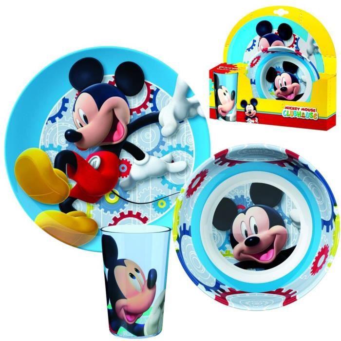 mickey mouse m lamine de vaisselle petit d jeuner assiette bol verre achat vente. Black Bedroom Furniture Sets. Home Design Ideas
