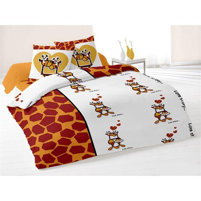 parure housse de couette girafe achat vente parure de couette cdiscount. Black Bedroom Furniture Sets. Home Design Ideas