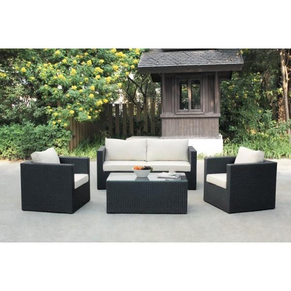 Salon de jardin en r sine tress e noire mod l achat for Salon de jardin en resine carrefour
