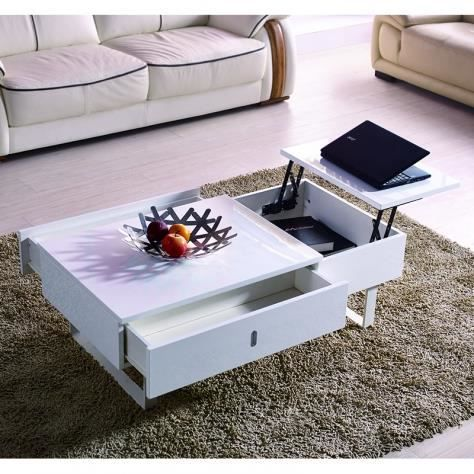 Table basse relevable multifonction laque blanc achat for Table basse qui se rehausse