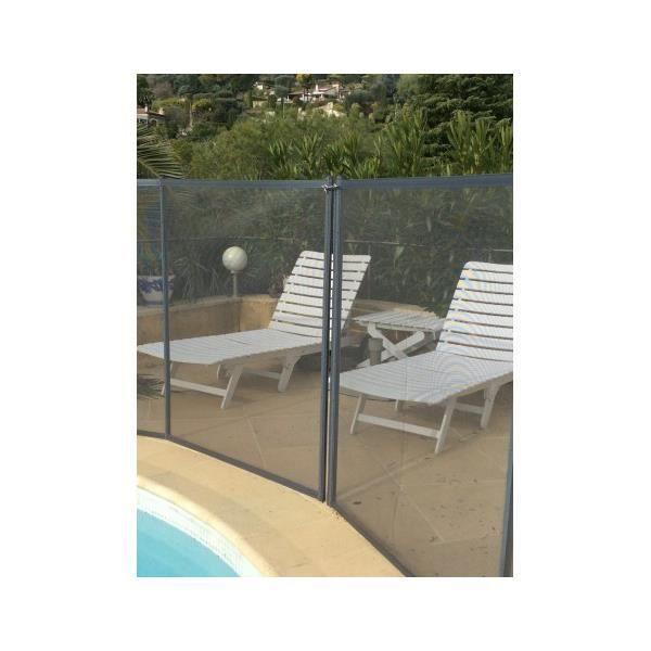 Barriere de piscine beethoven prestige grise avec piquets for Barriere piscine amovible