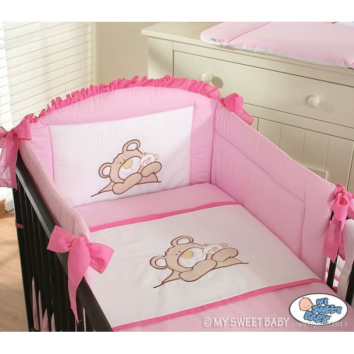 parure de lit b b barnaba rose avec tour de li achat vente parure de lit b b parure de. Black Bedroom Furniture Sets. Home Design Ideas