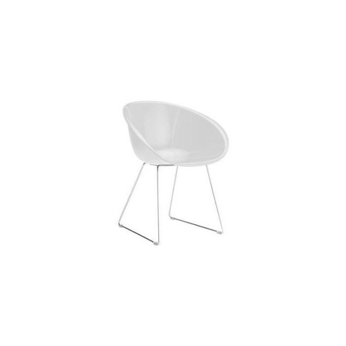Chaise design en cuir naturel gliss noir achat vente for Chaise design cuir