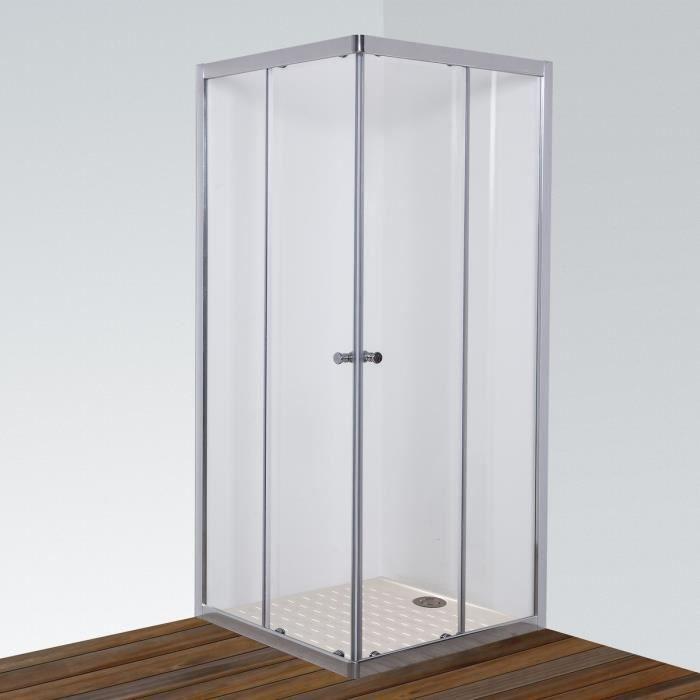 Paroi de douche d 39 angle 6mm nerina 100 100cm 2 coulissants achat ve - Porte coulissante douche 100 ...
