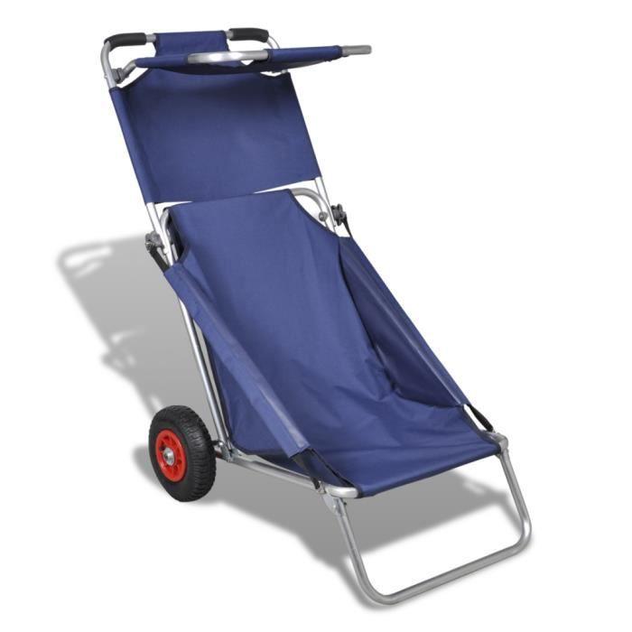 3 en 1 chariot chaise table de plage bleu pliable et portable pour activit s en plein air. Black Bedroom Furniture Sets. Home Design Ideas