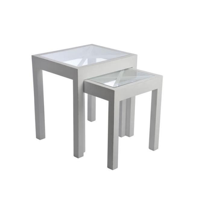 Set de 2 tables gigogne carre croix bois verre achat - Table en verre carre ...
