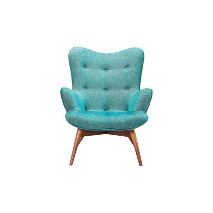 fauteuil turquoise capitonn e kare design achat vente fauteuil bleu cdiscount. Black Bedroom Furniture Sets. Home Design Ideas