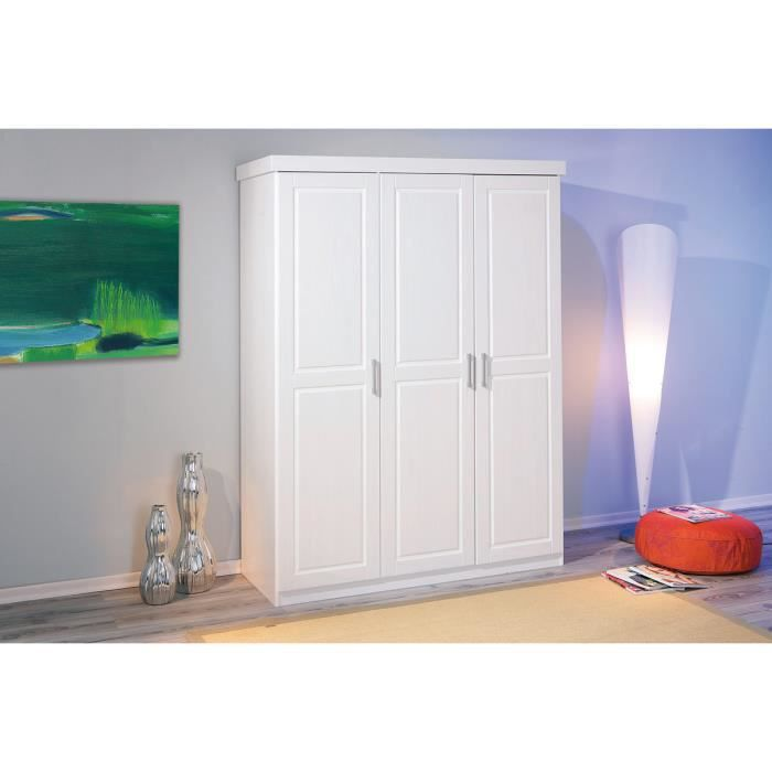 miliboo armoire penderie blanche 3 portes clara achat vente armoire de chambre clara. Black Bedroom Furniture Sets. Home Design Ideas