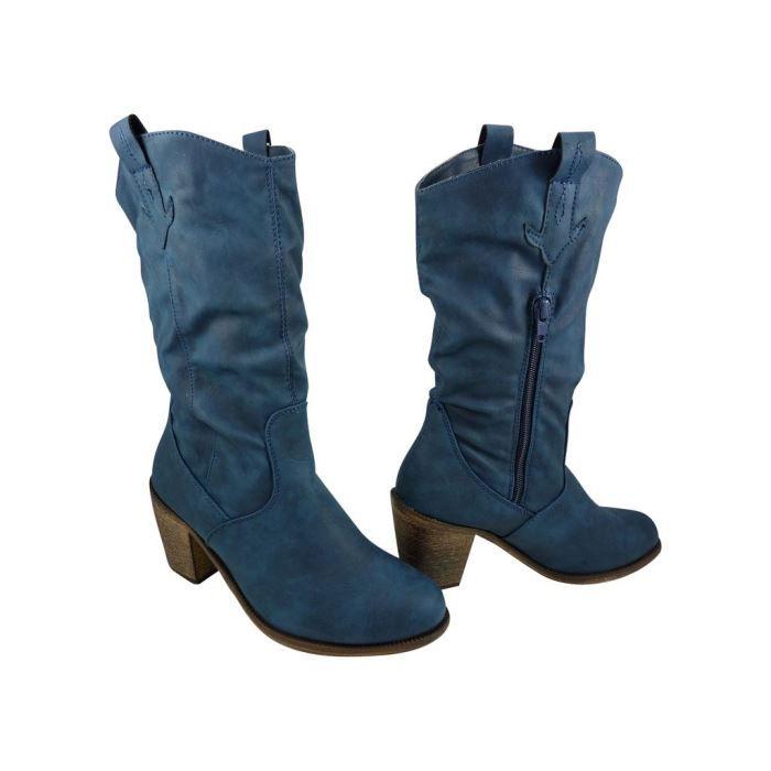 cowboy Bleu Achat / Vente Santiags femme Bottes cowboy pas cher