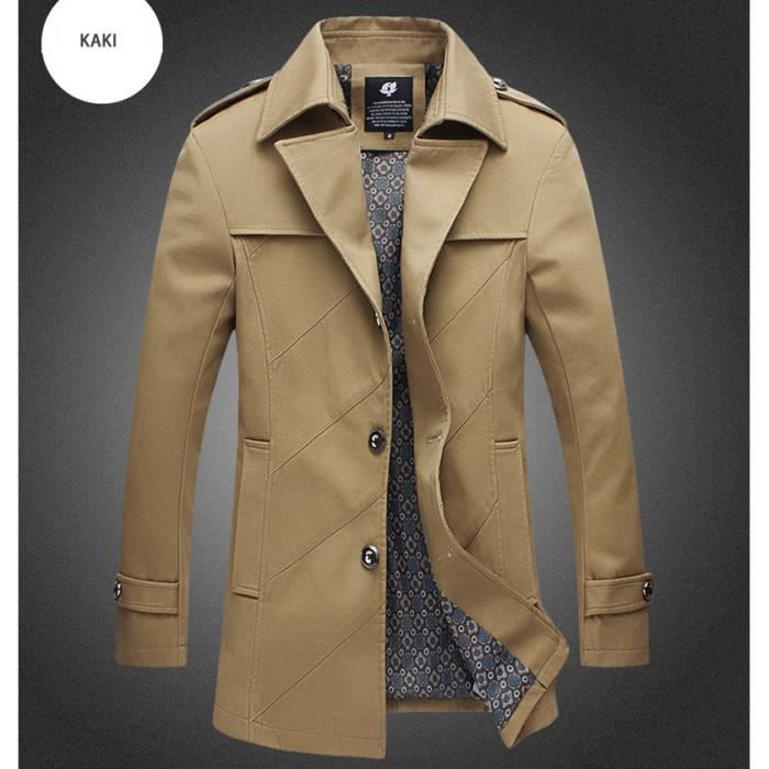 trench coat homme kaki marque slim fit veste lo kaki. Black Bedroom Furniture Sets. Home Design Ideas