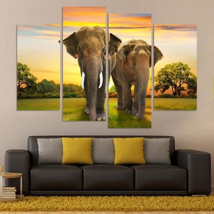Animaux modernes 4 panel accueil d coration murale art de for Decoration murale elephant